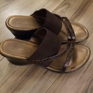 Carroll Reed slip on brown wedge sandals